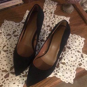Black Faux Suede High Heels
